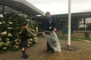 Council Leader Councillor Worden litter picking with resident Darcie Stoner Keeping North Devon clean and tidy one litter pick at a time